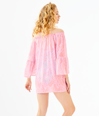 Nevie Off The Shoulder Cover-Up, Pink Tropics Tint Vertical Leaf Poly Crepe Clip Jacquard, large 1