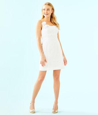 Liz Dress, Resort White Bubble Eyelet, large 3