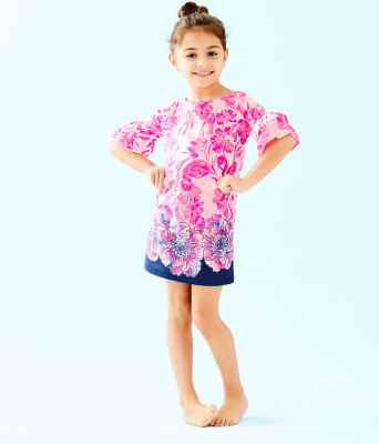 Girls Mini Lula Dress, Coral Reef Tint Flamingle Engineered Kids Dress Front, large 0
