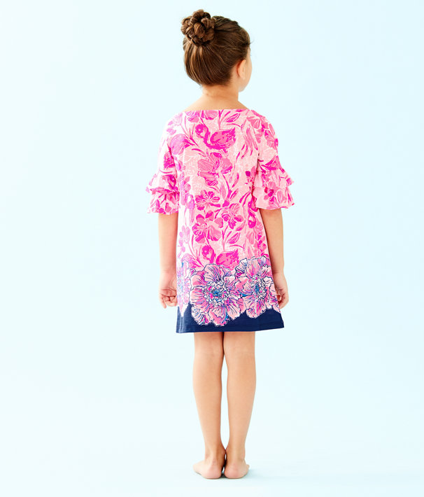 Girls Mini Lula Dress, Coral Reef Tint Flamingle Engineered Kids Dress Front, large