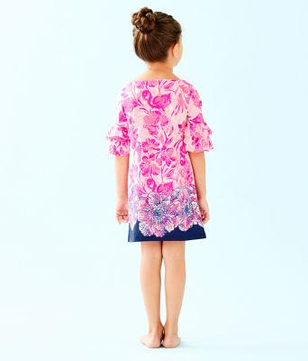 Girls Mini Lula Dress, Coral Reef Tint Flamingle Engineered Kids Dress Front, large