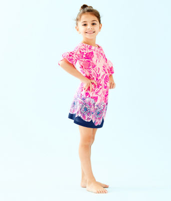 Girls Mini Lula Dress, Coral Reef Tint Flamingle Engineered Kids Dress Front, large 2