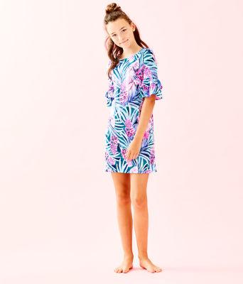Girls Mini Lula Dress, Mr Peacock Blue Tweethearts, large 3