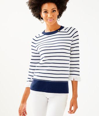 Dasha Sweater, True Navy Dasha Stripe, large