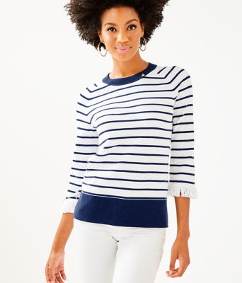 Dasha Sweater, True Navy Dasha Stripe, large 0
