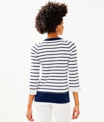 Dasha Sweater, True Navy Dasha Stripe, large 1