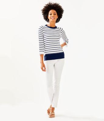 Dasha Sweater, True Navy Dasha Stripe, large 3