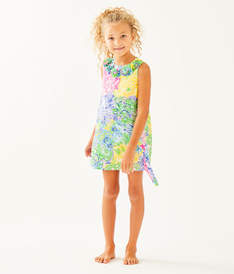 Girls Little Lilly Classic Shift Dress, Multi Cheek To Cheek, large