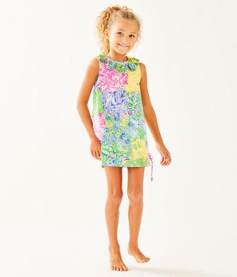 Girls Little Lilly Classic Shift Dress, Multi Cheek To Cheek, large 2