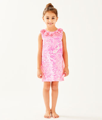 Girls Little Lilly Classic Shift Dress, Pink Tropics Tint Bunny Hop, large
