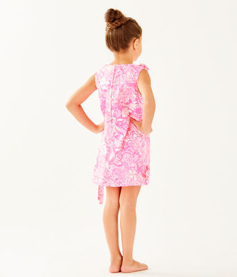 Girls Little Lilly Classic Shift Dress, Pink Tropics Tint Bunny Hop, large 1