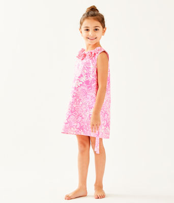 Girls Little Lilly Classic Shift Dress, Pink Tropics Tint Bunny Hop, large 2