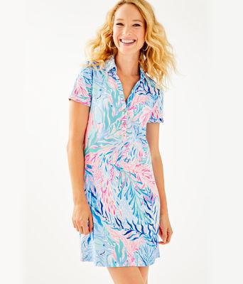 UPF 50+ Sadie Polo Dress, Crew Blue Tint Kaleidoscope Coral Engineered Dress, large 0