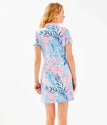 UPF 50+ Sadie Polo Dress, Crew Blue Tint Kaleidoscope Coral Engineered Dress, large 1
