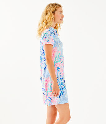 UPF 50+ Sadie Polo Dress, Crew Blue Tint Kaleidoscope Coral Engineered Dress, large 2