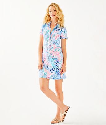 UPF 50+ Sadie Polo Dress, Crew Blue Tint Kaleidoscope Coral Engineered Dress, large