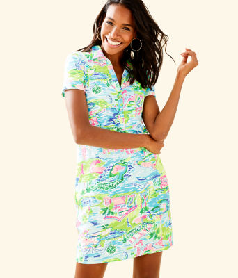 UPF 50+ Sadie Polo Dress, Multi Honda Classic Toile, large