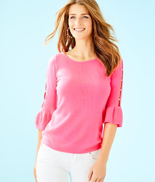Rosemary Pearl Sweater, Pink Tropics, large