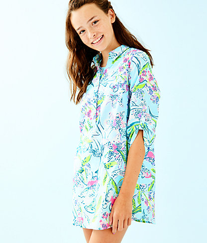 Girls Mini Natalie Cover Up, Bali Blue Sway This Way, large 0