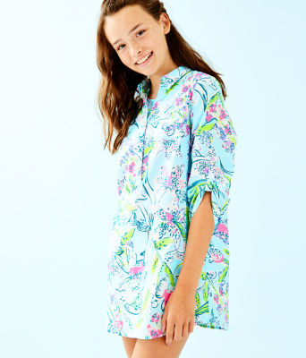 Girls Mini Natalie Cover-Up, Bali Blue Sway This Way, large 0