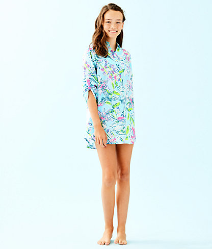 Girls Mini Natalie Cover Up, Bali Blue Sway This Way, large 3