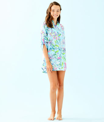 Girls Mini Natalie Cover-Up, Bali Blue Sway This Way, large 3