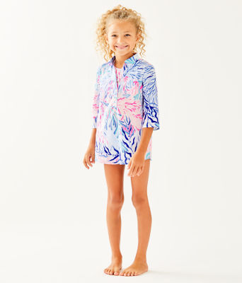 Girls Mini Natalie Cover-Up, Crew Blue Tint Kaleidoscope Coral, large 0