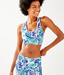 Luxletic Teegan Sports Bra, Turquoise Oasis Wave After Wave, large