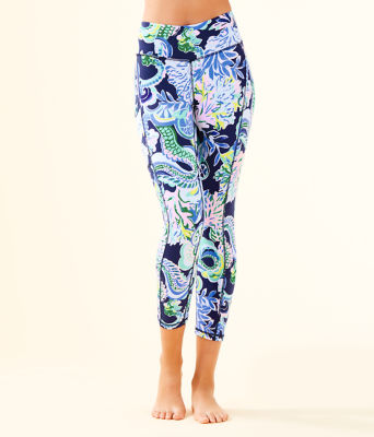 "UPF 50+ Luxletic 24"" High Rise Weekender Midi Legging, Bright Navy Sirens and Spirits, large"