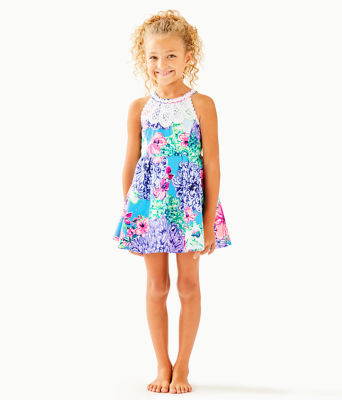 Girls Little Kinley Dress, Multi Special Delivery, large 0