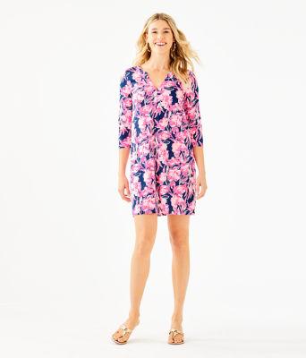 Daphne Dress, Inky Navy Flamingle, large 3