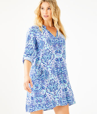 Lillith Tunic Dress, Resort White Call My Shell Phone Engineered Woven Dre, large 0