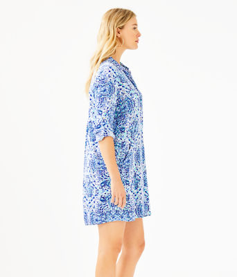 Lillith Tunic Dress, Resort White Call My Shell Phone Engineered Woven Dre, large