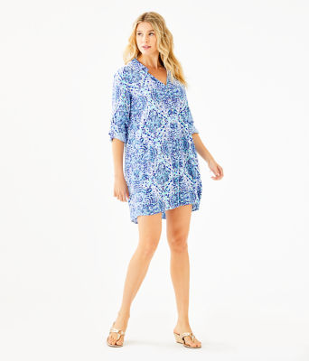 Lillith Tunic Dress, Resort White Call My Shell Phone Engineered Woven Dre, large 3