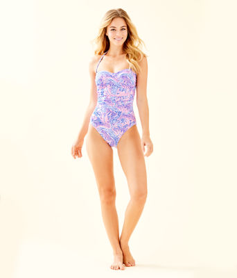 Flamenco One-Piece Swimsuit, Coastal Blue Maybe Gator, large