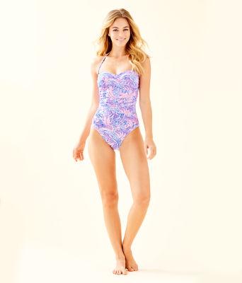 Flamenco One-Piece Swimsuit, Coastal Blue Maybe Gator, large 2