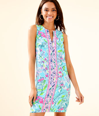 Kelby Stretch Shift Dress, Bali Blue Sway This Way Engineered Woven Dress, large 0
