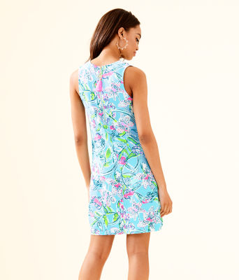 Kelby Stretch Shift Dress, Bali Blue Sway This Way Engineered Woven Dress, large