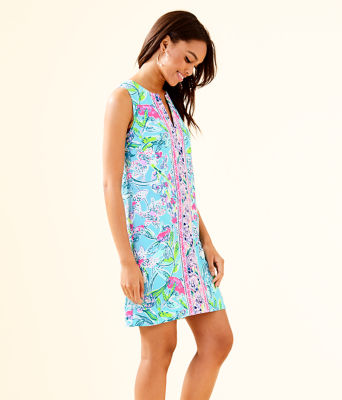 Kelby Stretch Shift Dress, Bali Blue Sway This Way Engineered Woven Dress, large 2