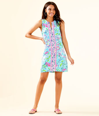 Kelby Stretch Shift Dress, Bali Blue Sway This Way Engineered Woven Dress, large 3