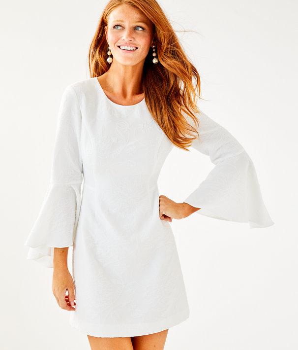Kayla Stretch Dress, Resort White Caliente Pucker Jacquard, large