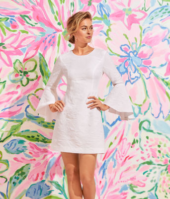 Kayla Stretch Dress, Resort White Caliente Pucker Jacquard, large