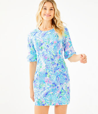 Fiesta Stretch Dress, Coastal Blue Lion Around, large 0