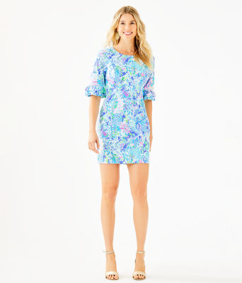 Fiesta Stretch Dress, Coastal Blue Lion Around, large
