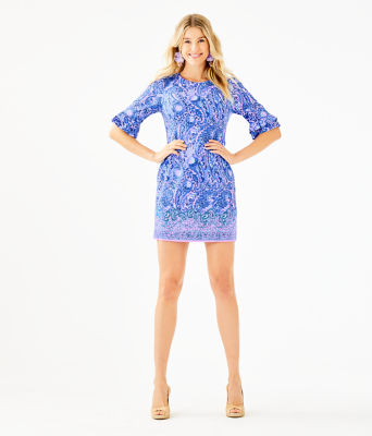 Fiesta Stretch Dress, Purple Iris Hello Sunshine Engineered Woven Dress, large 3