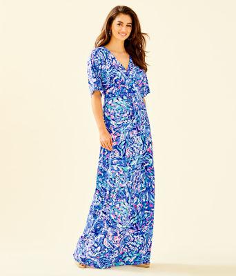 Parigi Maxi Dress, Royal Purple Party Wave, large