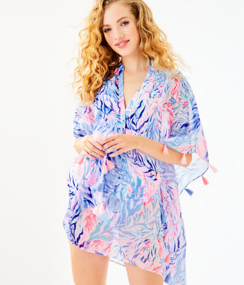 Arline Cover-Up, Crew Blue Tint Kaleidoscope Coral, large