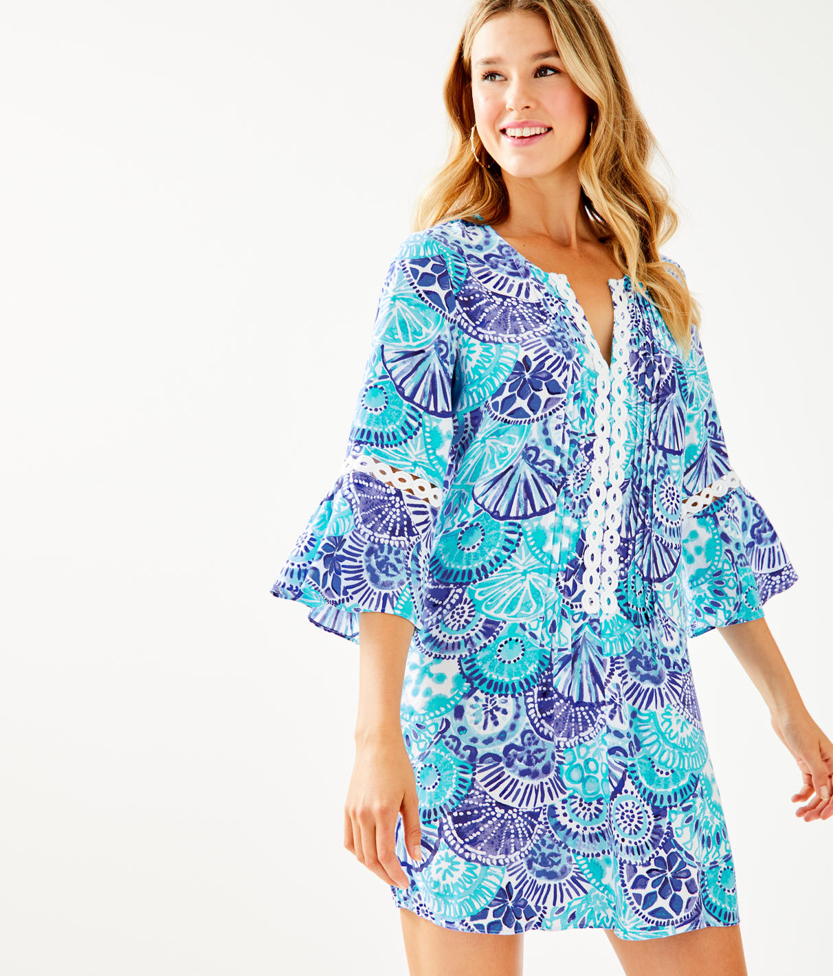 Hollie Tunic Dress in Turquoise Oasis Half Shell