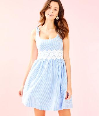 Tessa Dress, Coastal Blue Seersucker, large 0