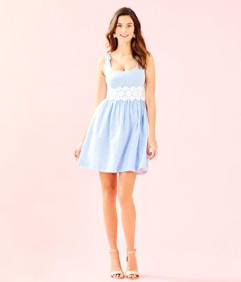 Tessa Dress, Coastal Blue Seersucker, large 3